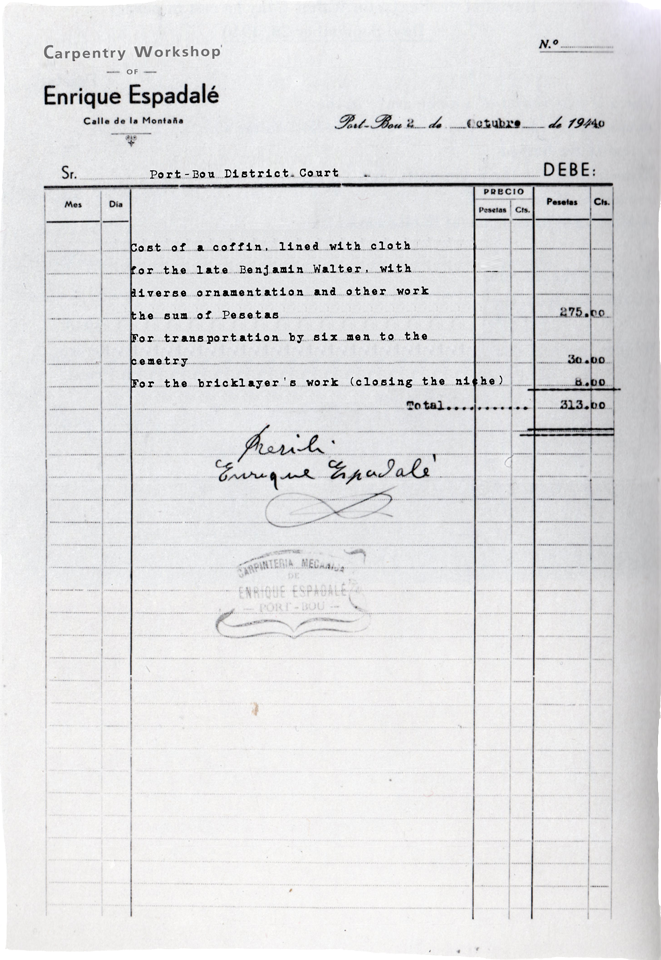 receipt for purchase of a coffin for Benjamin Walter