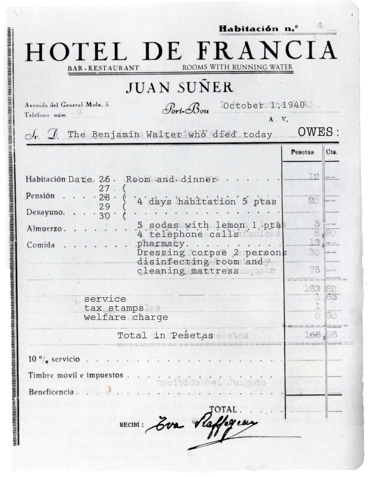 receipt for B. Walter's stay at the Hotel de Francia in Portbou