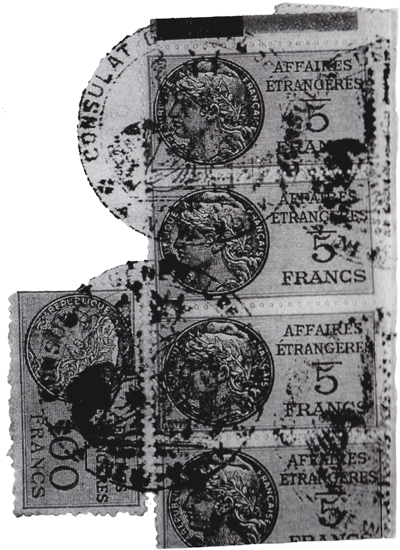 stamp and seal of the French Consulate (affaires etrangeres)